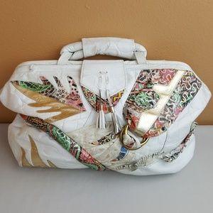 Vintage🌟White Gold Faux Leather Large Handbag